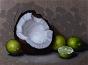 Coconut Metal Prints - Coconut and Key Limes V Metal Print by Clinton Hobart