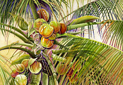 Lizards Paintings - Coconut Palm by Lyse Anthony