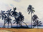 Hawai Painting Prints - Coconut trees waiting for the storm Print by Ken Shuey