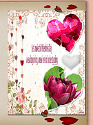 Posters From Mixed Media Framed Prints - Code Of Love Card Framed Print by Debra     Vatalaro