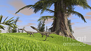 Running Digital Art - Coelophysis Running Across An Open by Kostyantyn Ivanyshen