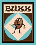 Funny Sculpture Prints - Coffe Buzz Print by Amy Vangsgard