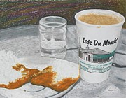 Riverwalk Drawings Prints - Coffee and Beignet Print by Hung Quach
