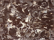 Jennifer Vazquez Metal Prints - Coffee and Cream abstract poured painting Metal Print by Jennifer Vazquez
