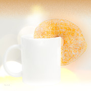 Coffee Cup Posters - Coffee and Donuts Poster by Bob Orsillo