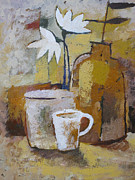 Impressionism Acrylic Prints - Coffee and Flowers Acrylic Print by Lutz Baar