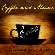 Coffee Themed Posters - Coffee And Music Poster by Lourry Legarde
