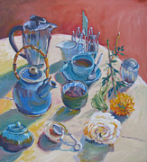 Teapot Paintings - Coffee And Tea by Vanessa Hadady BFA MA