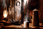 Cowboy Gear Prints - Coffee at the Cabin Print by Olivier Le Queinec