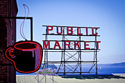 Pike Place Art - Coffee at the Market by David Patterson