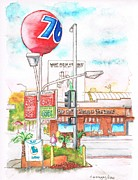 Monica Posters - Coffee-Bean-and-76-Gas-Station-Santa-Monica-CA Poster by Carlos G Groppa