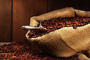 Coffee Beans In Burlap Sack Print by Sandra Cunningham