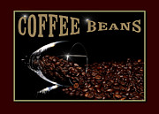 Grinding Framed Prints - Coffee Beans In Glass With Text Framed Print by Tommy Hammarsten