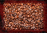 Menu Framed Prints - Coffee beans on canvas Framed Print by Tommy Hammarsten