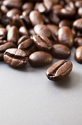 Ceramic Metal Prints - Coffee Beans on Grey Ceramic Surface Metal Print by Colin and Linda McKie