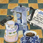 Italian Kitchen Posters - Coffee Break Poster by Jane Dunn Borresen