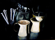Coffee Drinking Painting Prints - Coffee Cafe Print by Diane Kraudelt