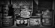 To Can Posters - Coffee Cans in Black And White Poster by Paul Ward