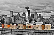 Seattle Skyline Framed Prints - Coffee Capital Framed Print by Benjamin Yeager
