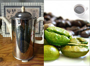 Green Beans Mixed Media Posters - Coffee Coffeee Coffee Poster by Michael Knight