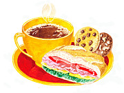 Groceries Painting Posters - Coffee Cookies Sandwich Lunch Poster by Irina Sztukowski