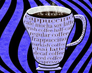 Decaf Prints - Coffee Cup With Stripes Typography Periwinkle Print by Andee Photography