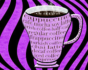 Decaf Prints - Coffee Cup With Stripes Typography Purple Print by Andee Photography