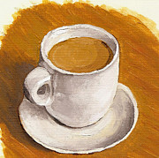 Espresso Paintings - Coffee Espresso Cup and Saucer by