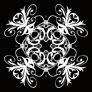 Rosette Digital Art Prints - Coffee Flowers 1 BW Ornate Medallion Print by Angelina Vick
