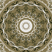 Rosette Digital Art Prints - Coffee Flowers 1 Olive Ornate Medallion Print by Angelina Vick