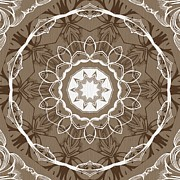 Rosette Digital Art Prints - Coffee Flowers 1 Ornate Medallion Print by Angelina Vick