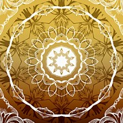 Mandalas Digital Art - Coffee Flowers 1 Ornate Medallion Calypso by Angelina Vick