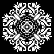 Rosette Posters - Coffee Flowers 10 BW Ornate Medallion Poster by Angelina Vick