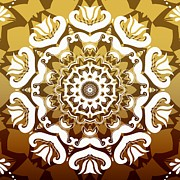 Rosette Posters - Coffee Flowers 10 Calypso Ornate Medallion Poster by Angelina Vick