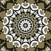 Bullseye Mixed Media Posters - Coffee Flowers 10 Olive Ornate Medallion Poster by Angelina Vick