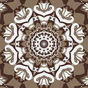 Rosette Digital Art Prints - Coffee Flowers 10 Ornate Medallion Print by Angelina Vick