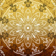 Rosette Posters - Coffee Flowers 11 Calypso Ornate Medallion Poster by Angelina Vick