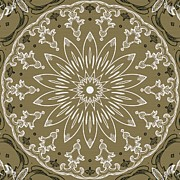 Rosette Posters - Coffee Flowers 11 Olive Ornate Medallion Poster by Angelina Vick