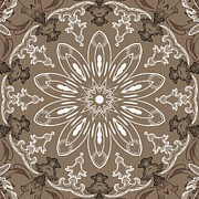 Rosette Posters - Coffee Flowers 11 Ornate Medallion Poster by Angelina Vick