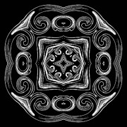 Ornamental Digital Art - Coffee Flowers 2 BW Ornate Medallion by Angelina Vick