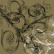Coffee Flowers 3 Olive Print by Angelina Vick