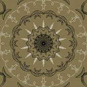 Coffee Flowers 3 Olive Ornate Medallion Print by Angelina Vick
