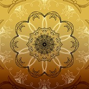 Rosette Digital Art Prints - Coffee Flowers 3 Ornate Medallion Calypso Print by Angelina Vick