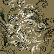 Taupe Prints - Coffee Flowers 4 Olive Print by Angelina Vick