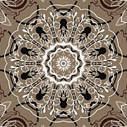Rosette Digital Art Prints - Coffee Flowers 5 Ornate Medallion Print by Angelina Vick