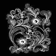 Ornamental Digital Art - Coffee Flowers 6 BW by Angelina Vick