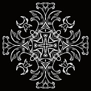 Rosette Digital Art Prints - Coffee Flowers 7 BW Ornate Medallion Print by Angelina Vick