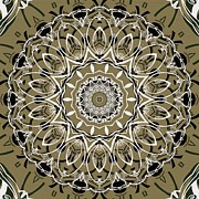 Repetition Prints - Coffee Flowers 7 Olive Ornate Medallion Print by Angelina Vick