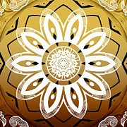 Rosette Posters - Coffee Flowers 8 Calypso Ornate Medallion Poster by Angelina Vick
