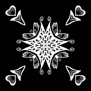 Mandalas Digital Art - Coffee Flowers 9 BW Ornate Medallion by Angelina Vick